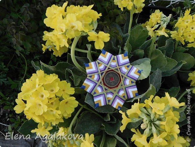 """Сегодня я хочу показать плетение мандалы на картонной основе. Эта мандалу еще называют """"Португальская звезда"""" фото 22"""