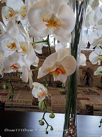 Букет белых орхидей из полимерной глины фото 3