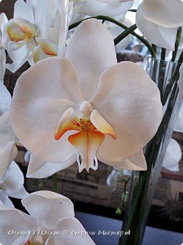 Букет белых орхидей из полимерной глины фото 4