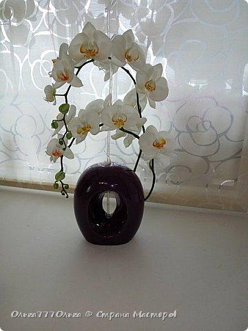 Букет белых орхидей из полимерной глины фото 6