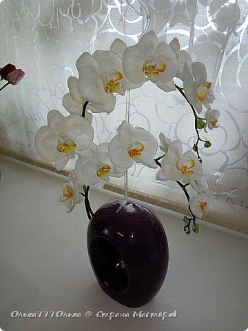 Букет белых орхидей из полимерной глины фото 7