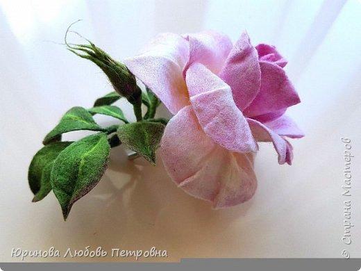 Чайная роза с бутонами. Брошь. Шерсть. фото 4