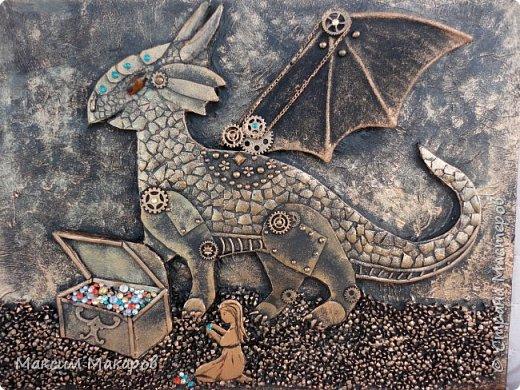 """Стимпанк панно """"Девочка и Динозаврик"""". Сделала дочь ей 12 лет! фото 1"""