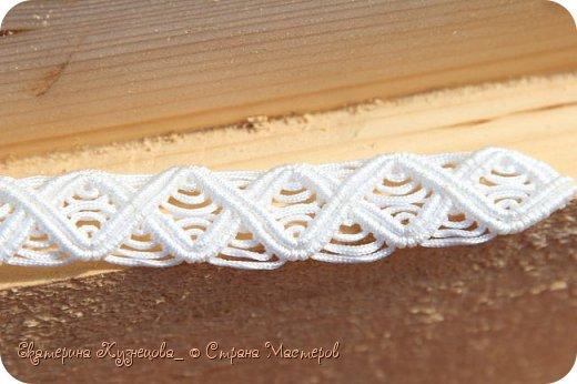 """Белый пояс """"Волна"""" выполнен на заказ из нейлонового шнура, толщиной 1,5 мм. Длина пояса 95 см.  Пряжку я решила тоже оплести, чтобы она смотрелась более органично) фото 3"""