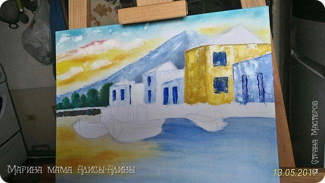 """В начале месяца нарисовала такую картину. Холст на картоне, масло. """"Гавань"""" фото 3"""