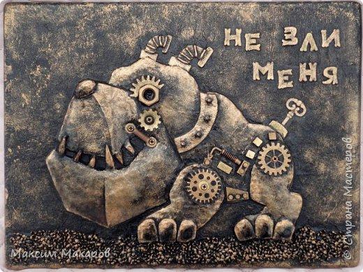 """Стимпанк панно """"Не зли меня"""". Отличный подарок шефу на стену, что бы висел за спиной или домохозяйке, картина говорит сама за себя, возможно использовать ее как ключницу. фото 1"""