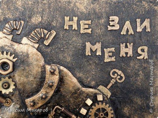 """Стимпанк панно """"Не зли меня"""". Отличный подарок шефу на стену, что бы висел за спиной или домохозяйке, картина говорит сама за себя, возможно использовать ее как ключницу. фото 3"""