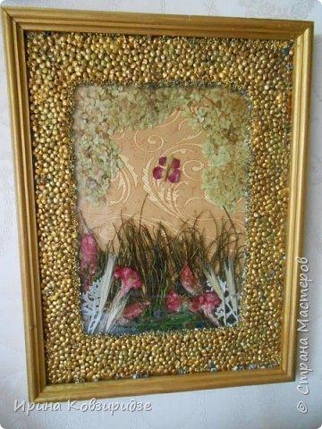 """Картина """"Летний сад"""" . Под стеклом, основа шёлк на картоне. На стекле чечевица, покрытая золотой акриловой краской и лаком.  Сухоцветы. Вместо травы - павлинья перья. фото 2"""