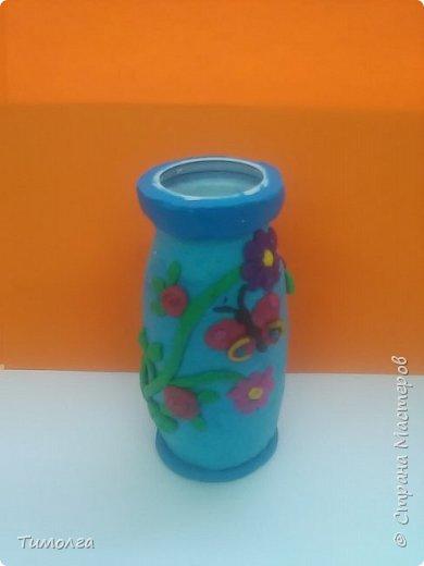 """На основе баночки от """"имунеле"""" ребята изготовили вазочки для мам на 8 Марта. Фантазия ребят безгранична. У каждого получилась своя неповторимая вазочка. фото 4"""