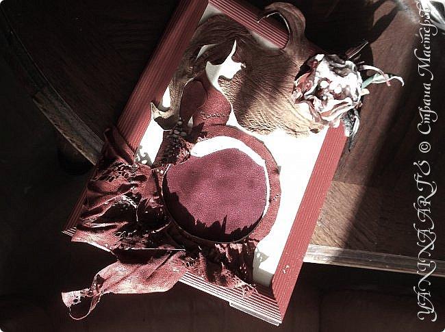 Представляю на Ваш суд две картины в пунцовых тонах.                                               1.  КАРМЕЛИТА. Для жгучей брюнетки из СПб! выполнена из кожи  и замши разных  фактур фото 7