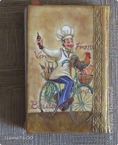 Блокнот для  записей. Обычная тетрадь на спирали, сделала обложку из гофрированного картона + декупаж. Розочка из ХФ фото 4