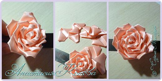 Доброго времени суток, дорогие друзья)  Сегодня я хочу рассказать вам, как сделала розу из лент. На создание одной розы у меня уходит 30 минут. фото 13