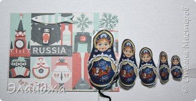Тема:Россия, обязательное условие наличие Матрешки  Правила этапа совместника условия тут (http://stranamasterov.ru/node/1087039 ). Ещё 200 лет назад о Матрёшке никто ещё не знал , а   в  60-е годы прошлого века, когда в СССР стали приезжать иностранные гости для учёбы и участия во всевозможных фестивалях,каждый  хотел приобрести раскладную куклу на память. Собственно, и сегодня каждый иностранец тоже желает матрёшку купить в память о своём пребывании в России. Такие  объемные карточки с 3Д =эффектом получились  фото 24