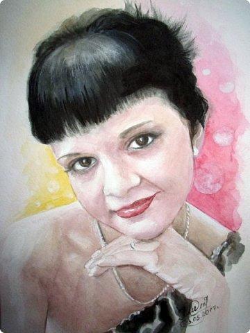 Женский портрет. Акварель. Формат А4.  фото 1