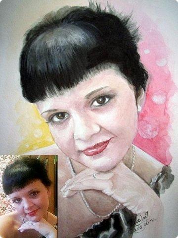 Женский портрет. Акварель. Формат А4.  фото 6