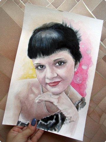 Женский портрет. Акварель. Формат А4.  фото 3