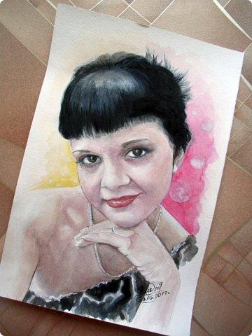 Женский портрет. Акварель. Формат А4.  фото 5