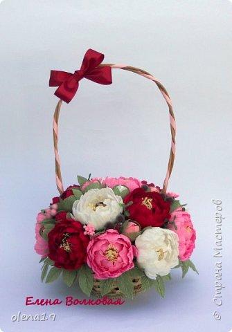 Сегодня покажу новый цветок для меня - пион. Корзинка с пионами. фото 2