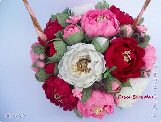 Сегодня покажу новый цветок для меня - пион. Корзинка с пионами. фото 3