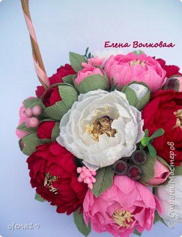 Сегодня покажу новый цветок для меня - пион. Корзинка с пионами. фото 4