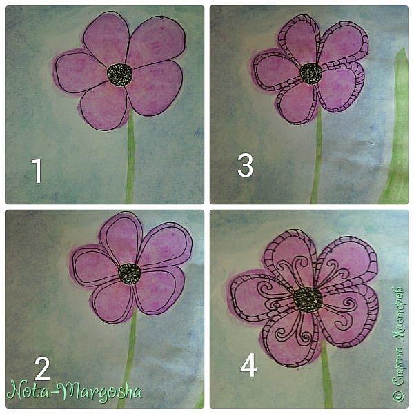 Здравствуйте жители СМ!  Сегодня я расскажу как нарисовать цветок в стиле дудлинг.  фото 5