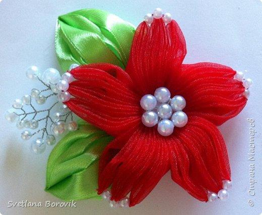 Брошь цветок канзаши Звезда из органзы
