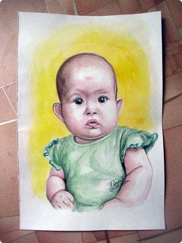 Детский портрет. Акварель. Формат А4.  фото 2