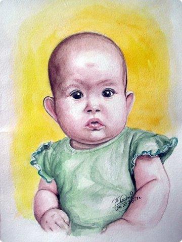Детский портрет. Акварель. Формат А4.  фото 1
