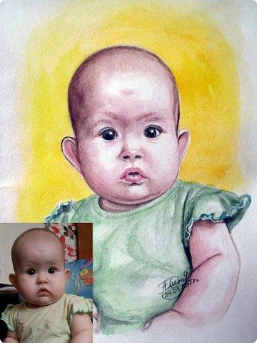 Детский портрет. Акварель. Формат А4.  фото 6