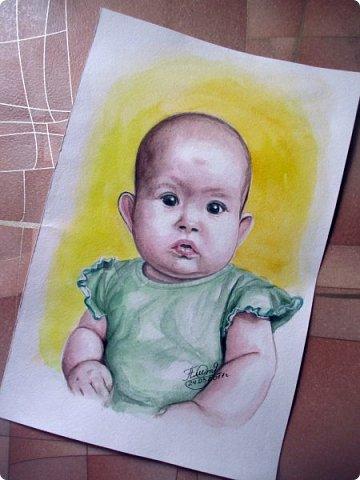 Детский портрет. Акварель. Формат А4.  фото 3