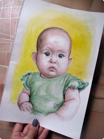 Детский портрет. Акварель. Формат А4.  фото 5