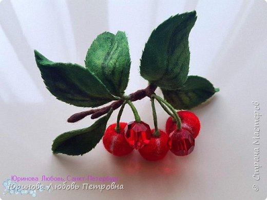 Веточка сочной вишни. Брошь. Шерсть. фото 2