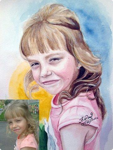 Детский портрет. Акварель. А4. фото 7
