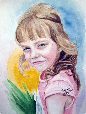Детский портрет. Акварель. А4. фото 1