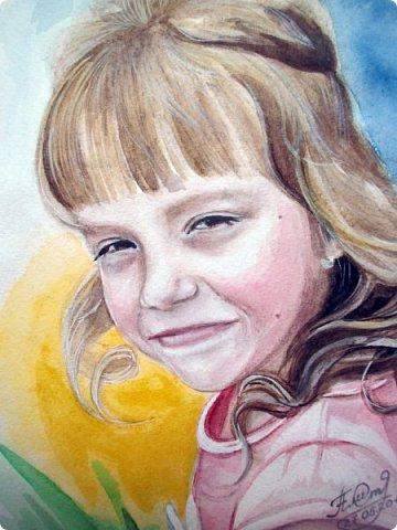 Детский портрет. Акварель. А4. фото 3