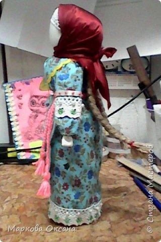"""Добрый день! Принимайте - кукла оберег """"Успешница"""" ,сделана в подарок очень хорошей женщине , рост 32 см.Расшита бисером , пайетками , обшита тесьмой. фото 5"""