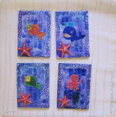 """Привееет всем!!! Представляю вам свои первые АТС карточки """"Морские обитатели"""" фото 1"""