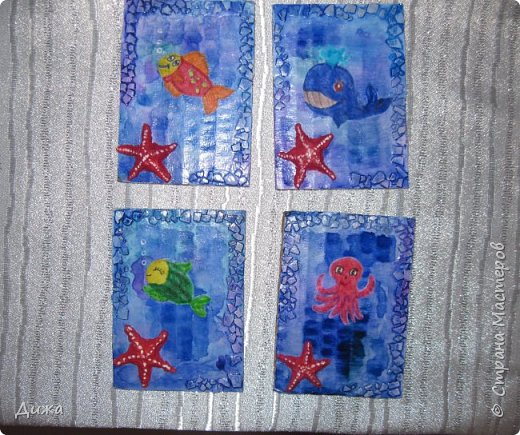 """Привееет всем!!! Представляю вам свои первые АТС карточки """"Морские обитатели"""" фото 7"""