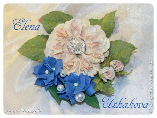 Пионовидная роза с гортензией брошь для мамочки фото 1