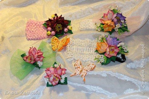 Повязки и брошки с цветами Прострел луговой и бабочки))) фото 1