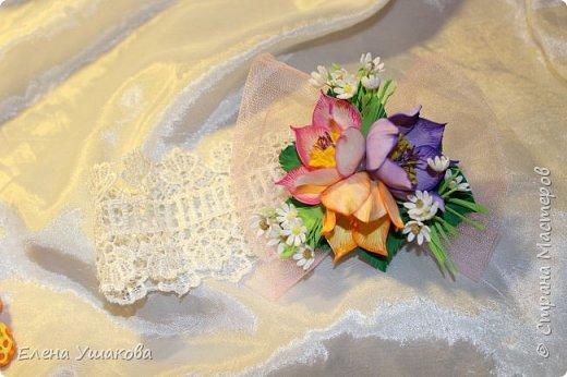 Повязки и брошки с цветами Прострел луговой и бабочки))) фото 2
