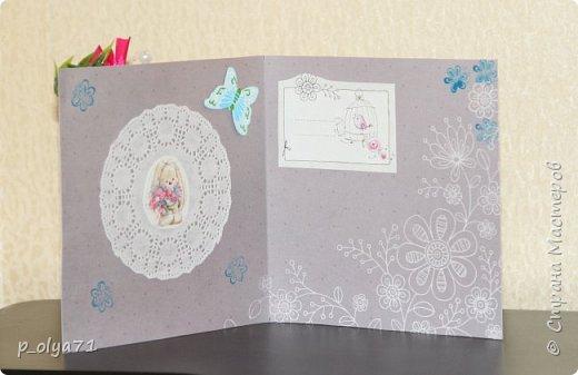 """Здравствуйте!!! Понравилось мне делать открытки,к тому же приятно,что они понравились))) Вот решила сделать ещё)) тем более,поводов предостаточно! Открыточка """"Зайка""""№1 (для старшей дочки,она просто в восторге была от первых моих открыток      http://stranamasterov.ru/node/1098547       )))) фото 2"""