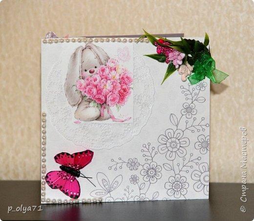 """Здравствуйте!!! Понравилось мне делать открытки,к тому же приятно,что они понравились))) Вот решила сделать ещё)) тем более,поводов предостаточно! Открыточка """"Зайка""""№1 (для старшей дочки,она просто в восторге была от первых моих открыток      http://stranamasterov.ru/node/1098547       )))) фото 4"""