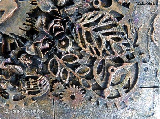 Очередная шкатулка в стиле стимпанк была изготовлена. Обилие металлических элементов, чипборда, текстурной пасты... В общем все как я люблю =) фото 8