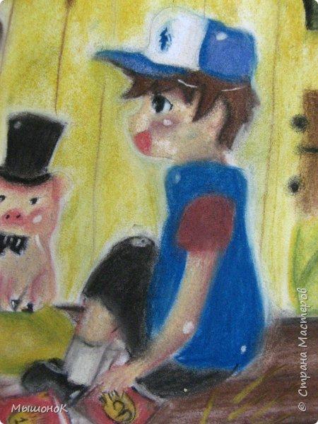 Ну, вот такой рисунок у меня получился!  Рисовала по просьбе младшего братика, который обожает этот мультик. Героев решила нарисовать в стиле аниме, чтоб интереснее было :)))  Рисовала по памяти. картинки не было. Так что за недочеты извиняйте :D  Рисунок выполнен сухой пастелью. фото 5