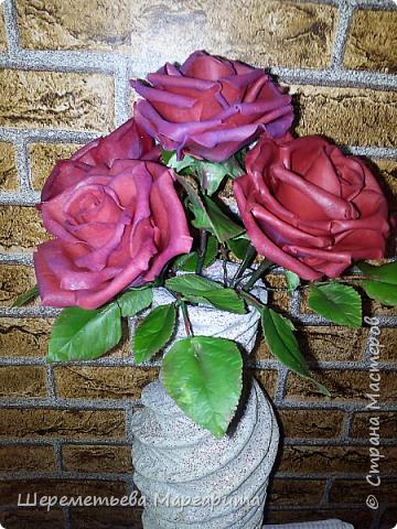 Бордовые розы в вазе фото 4