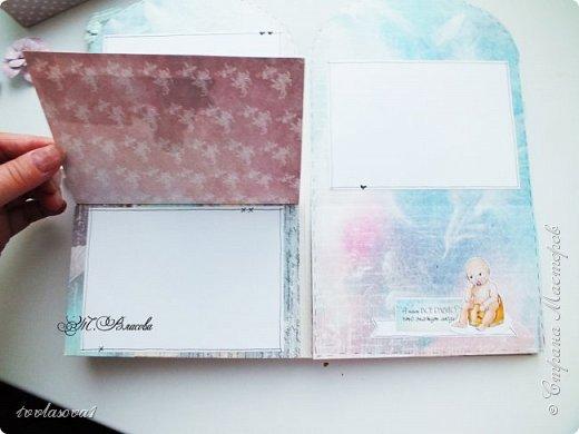 Вот и закончила я детский альбомчик,сделанный по МК Елены Виноградовой. Долго ждал своего часа, и дождался! Самые драгоценные моменты  малыша уютно займут свое место в этом детском именном альбомчике-конверте. фото 9