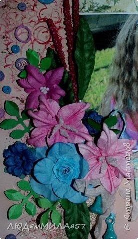 Здравствуйте всем! 1 июня у моей внучки День рождения,захотела в подарок что-нибудь такое,что я ещё не делала никому!?! А не делала я только скрап-страницы и скрап-холсты,решила начать со скрап- страницы........ фото 4