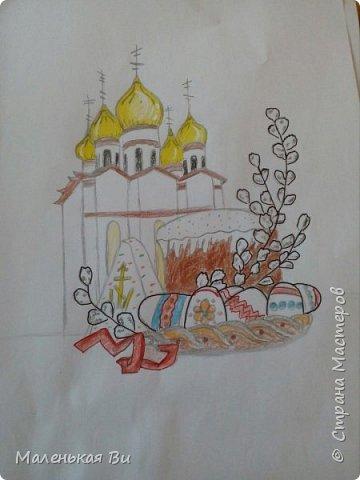 Работа к празднику Пасхи. Карандаш+контуры линером+белая ручка фото 1