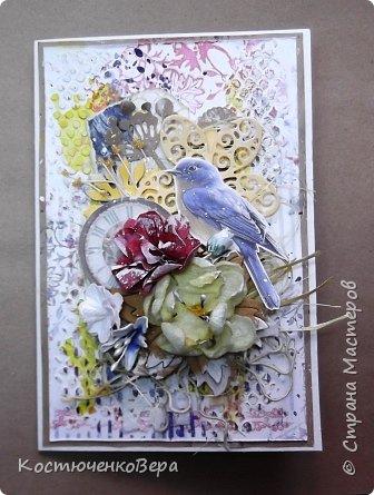Ещё две открытки получились для души  в свободном стиле. Ближе к шебби походит. фото 6